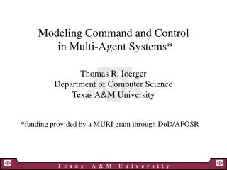 Modeling Command and Control  in Multi-Agent Systems*