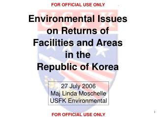 Environmental Issues on Returns of Facilities and Areas in the Republic of Korea