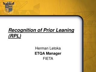 Recognition of Prior Leaning (RPL)