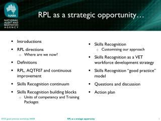 RPL as a strategic opportunity…