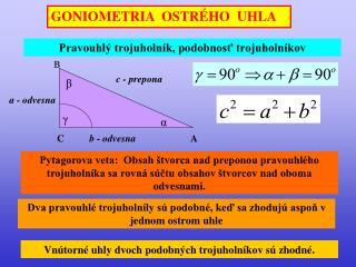 GONIOMETRIA  OSTRÉHO  UHLA