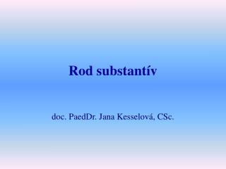 Rod substantív