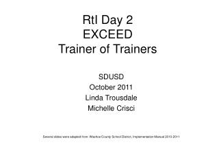 RtI Day 2 EXCEED Trainer of Trainers