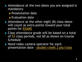 Attendance at the two dates you are assigned is mandatory Presentation date Evaluation date