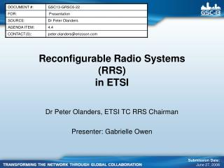 Reconfigurable Radio Systems (RRS) in ETSI
