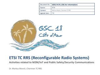 ETSI TC RRS (Reconfigurable Radio Systems)