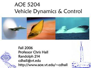 AOE 5204 Vehicle Dynamics & Control