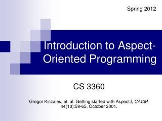 Introduction to Aspect-Oriented Programming