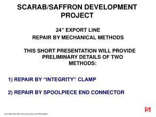 SCARAB/SAFFRON DEVELOPMENT PROJECT