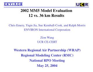 2002 MM5 Model Evaluation 12 vs. 36 km Results