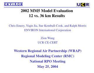 2002 MM5 Model Evaluation 12 vs. 36 km Results