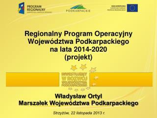 Regionalny Program Operacyjny Województwa Podkarpackiego  na lata 2014-2020 (projekt)