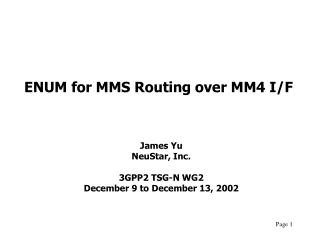 ENUM for MMS Routing over MM4 I/F