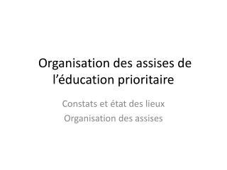 Organisation des assises de l'éducation prioritaire