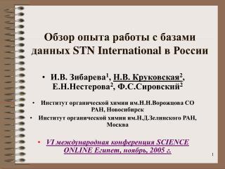 Обзор опыта работы с базами данных  STN International  в России