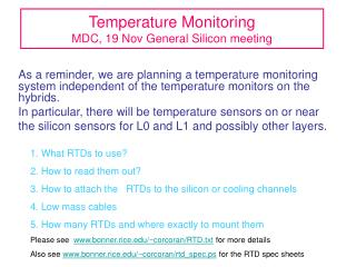 Temperature Monitoring MDC, 19 Nov General Silicon meeting