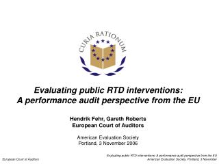 Evaluating public RTD interventions: A performance audit perspective from the EU