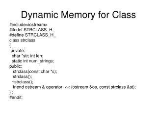 Dynamic Memory for Class