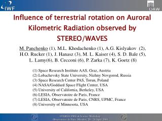 Influence of terrestrial rotation on Auroral Kilometric Radiation observed by STEREO/WAVES