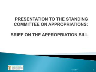 PRESENTATION TO THE STANDING COMMITTEE ON APPROPRIATIONS: BRIEF ON THE APPROPRIATION BILL