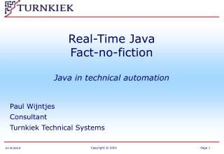 Real-Time Java Fact-no-fiction Java in technical automation