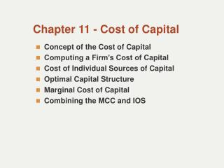Chapter 11 - Cost of Capital