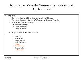 Microwave Remote Sensing: Principles and Applications