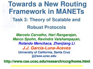 Towards a New Routing Framework in MANETs Task 3: Theory of Scalable and Robust Protocols
