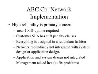 ABC Co. Network Implementation