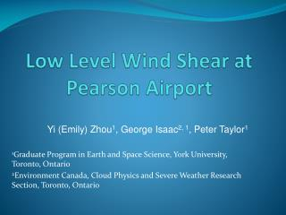 Low Level Wind Shear at Pearson Airport