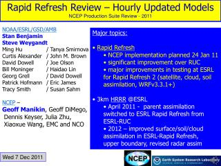 Rapid Refresh Review – Hourly Updated Models NCEP Production Suite Review - 2011