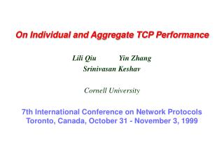 On Individual and Aggregate TCP Performance