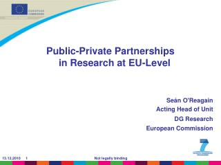 Public-Private Partnerships  in Research at EU-Level