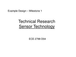 Technical Research  Sensor Technology