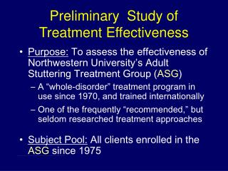 Preliminary  Study of Treatment Effectiveness