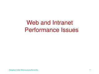 Web and Intranet Performance Issues