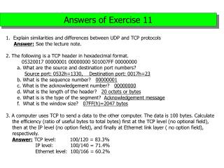 Answers of Exercise 11
