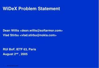 WiDeX Problem Statement