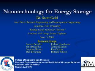 Nanotechnology for Energy Storage