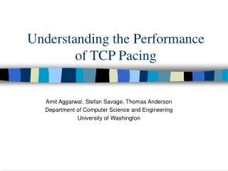 Understanding the Performance of TCP Pacing
