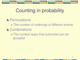 Counting in probability