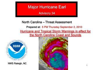Major Hurricane Earl Advisory 34 North Carolina – Threat Assessment