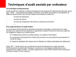 Techniques d'audit assisté par ordinateur
