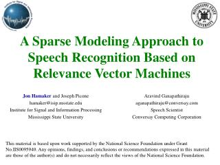 A Sparse Modeling Approach to Speech Recognition Based on Relevance Vector Machines