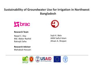 Sustainability of Groundwater Use for Irrigation in Northwest Bangladesh