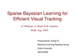 Sparse Bayesian Learning for Efficient Visual Tracking