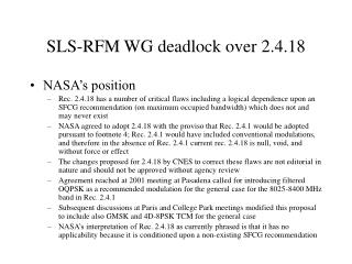 SLS-RFM WG deadlock over 2.4.18