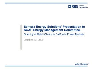 Sempra Energy Solutions' Presentation to SCAP Energy Management Committee