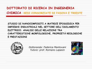 Dottoranda: Federica Mantovani Tutore: prof. Romano Lapasin