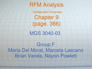 RFM Analysis Collaboration Excercise Chapter 9 (page. 366)